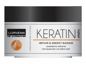 Lorvenn Keratin Vitality тонизираща маска за реконструиране с кератин за слаба и изтощена коса