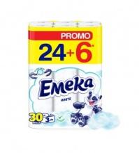 ЕМЕКА ТОАЛЕТНА ХАРТИЯ WHITE 24+6БР