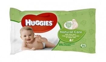 HUGGIES МОКРИ КЪРПИ NATURAL CARE WITH ALOE VERA 56БР