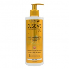 L'OREAL ELSEVE ШАМПОАН LOW SHAMPOO 3IN1 CLEANSING CREAM EXTRAORDINARY OIL ЗА СУХА КОСА 400МЛ