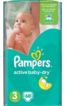 PAMPERS ПАМПЕРСИ ACTIVE BABY-DRY 5-9КГ /3-КА/ 68БР