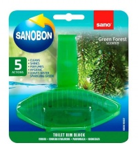 SANOBON WC АРОМАТИЗАТОР ЗА ТОАЛЕТНА 5 IN 1 GREEN FOREST SCENTED 55ГР