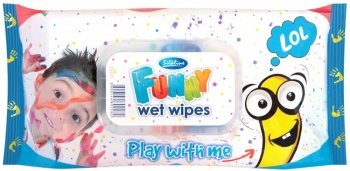 SILKLINE МОКРИ КЪРПИ FUNNY WET WIPES СИНИ 72БР